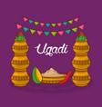 ugadi traditional celebration decorative kalash vector image