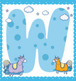 w alphabet letter for kids vector image