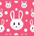 white and cute furry bunny seamless pattern vector image vector image