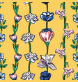 wild flowers seamless pattern yellow background vector image