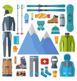 winter sportswear and equipment icon set skiing vector image vector image