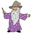 wizard with magic wand vector image