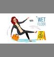 woman slips on wet floor modern business vector image vector image