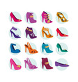 women shoe icon set vector image