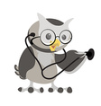 Cartoon owl in the glasses with phonendoscope Owl vector image