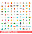 100 municipal icons set cartoon style vector image vector image
