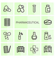 14 pharmaceutical icons vector image vector image