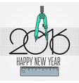 2016 and Drawing tools New Year and Christmas flat vector image