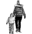 a mother and her kid go for a stroll vector image vector image