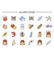 allergy sources icons with causative agents set vector image
