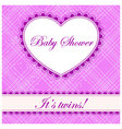 Baby-shower-cell-heart-banner-twins vector image vector image
