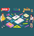 back to school boy girl with supplies for lesson vector image