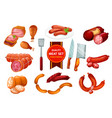 beef and pork meat sausage butcher shop vector image vector image
