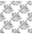 black and white outline seamless pattern heart vector image vector image