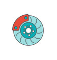 brake disc flat line icon vector image vector image