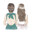 bride with bridesmaid side side wedding vector image vector image