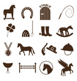 brown simple horse theme icons set eps10 vector image