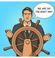 Businessman and ship steering wheel pop art vector image vector image