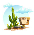 cartoon of a cactus wanted vector image