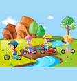 children riding bicycle over the bridge vector image