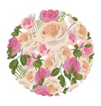 circle with tropical roses plant with leaves vector image vector image