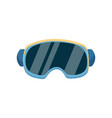 close-up view of a warm blue ski goggles vector image