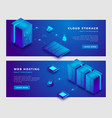 cloud storage and web hosting concept banner vector image