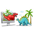 Computer screen with two dinosaurs vector image vector image