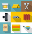 construction works icons set flat style vector image vector image