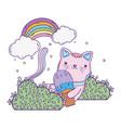 cute cat with ice cream in rainbow vector image