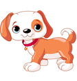 cute walking puppy wearing a red collar with a dog vector image vector image