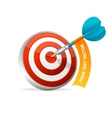 Dartboard with dart Hitting A Target Text banner vector image