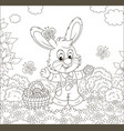 easter bunny with a basket of decorated eggs vector image vector image