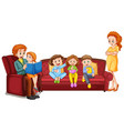 family members with parents and kids on white vector image vector image