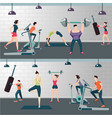 fitness room with people on a work out gym vector image