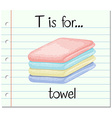 Flashcard letter T is for towel vector image vector image
