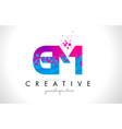 gm g m letter logo with shattered broken blue vector image vector image