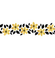 gold foil flower garland seamless border vector image vector image