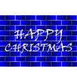 happy christmas - white and blue vector image vector image