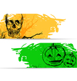 Horizontal banners for Halloween with skull vector image vector image