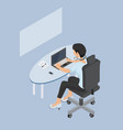 isometric woman working at a laptop vector image
