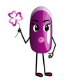 lilac nail cartoon character with arms and legs vector image vector image