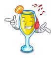 listening music mimosa mascot cartoon style vector image vector image
