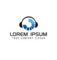 music entertainment logo headphones logo design vector image vector image