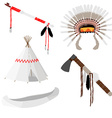 Native american set five icons vector image vector image