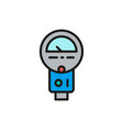 parking meter flat color line icon isolated vector image vector image