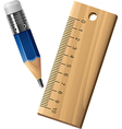 Pencil and ruler set vector image vector image