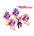 performance circus isometric background vector image vector image
