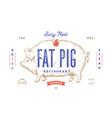 pork pig template label vintage retro print vector image vector image