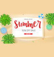 poster of summer sale action get up to fifty vector image vector image